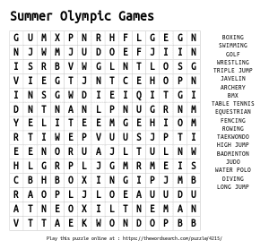 Word Search on Summer Olympic Games