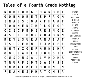 Word Search on Tales of a Fourth Grade Nothing