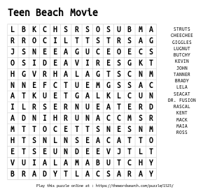 Word Search on Teen Beach Movie