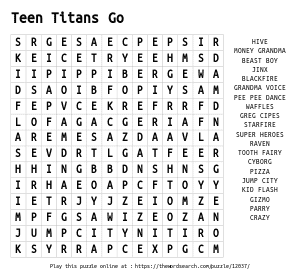 Word Search on Teen Titans Go