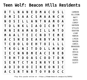 Word Search on Teen Wolf: Beacon Hills Residents