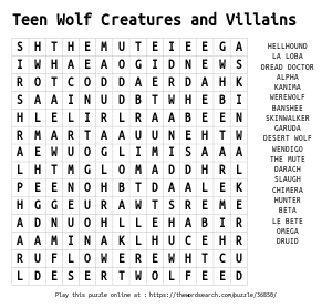 Word Search on Teen Wolf Creatures and Villains