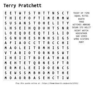 Word Search on Terry Pratchett