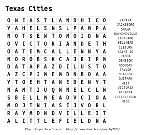 Word Search on Texas Cities