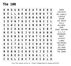 Word Search on The 100