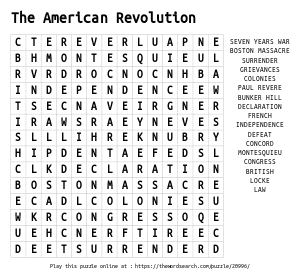 Word Search on The American Revolution