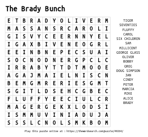 Word Search on The Brady Bunch