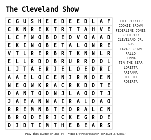 Word Search on The Cleveland Show