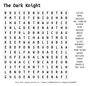 Word Search on The Dark Knight