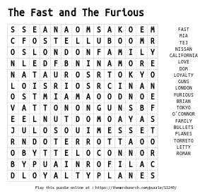 Word Search on The Fast and The Furious