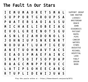Word Search on The Fault in Our Stars