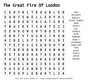 Word Search on The Great Fire Of London