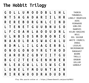 Word Search on The Hobbit Trilogy