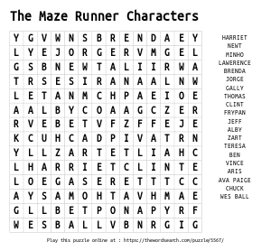 Word Search on The Maze Runner Characters