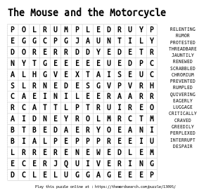 Word Search on The Mouse and the Motorcycle
