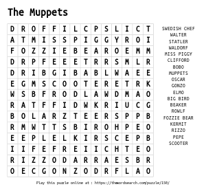 Word Search on The Muppets