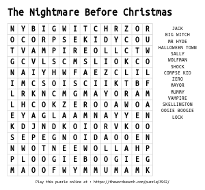 Word Search on The Nightmare Before Christmas