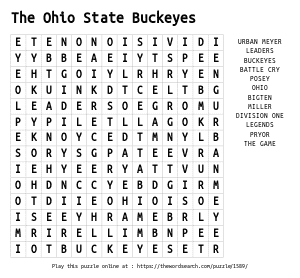 Word Search on The Ohio State Buckeyes