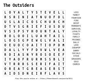 Word Search on The Outsiders