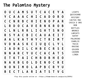 Word Search on The Palomino Mystery