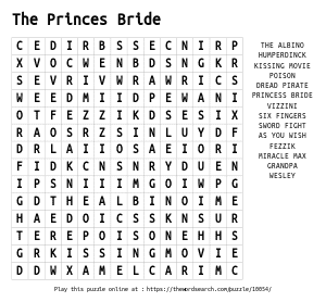 Word Search on The Princes Bride
