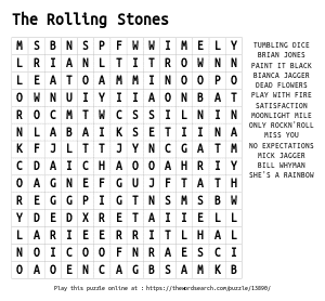 Word Search on The Rolling Stones