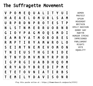 Word Search on The Suffragette Movement
