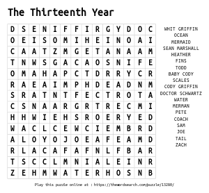 Word Search on The Thirteenth Year