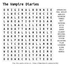 Word Search on The Vampire Diaries