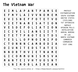 Word Search on The Vietnam War
