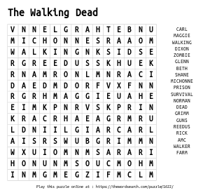 Word Search on The Walking Dead