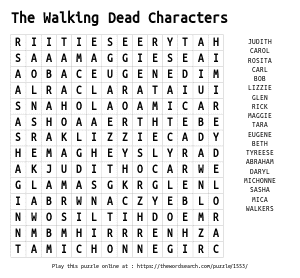 Word Search on The Walking Dead Characters