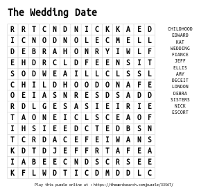 Word Search on The Wedding Date