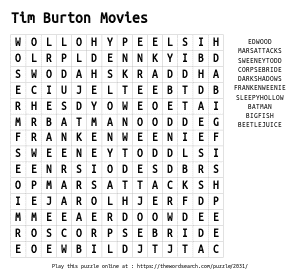 Word Search on Tim Burton Movies