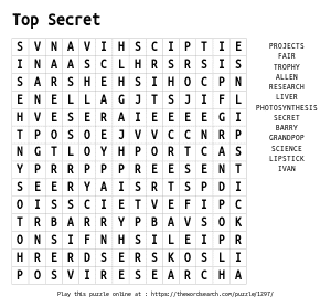 Word Search on Top Secret