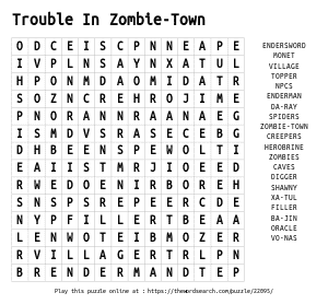 Word Search on Trouble In Zombie-Town