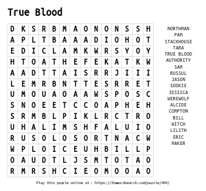 Word Search on True Blood