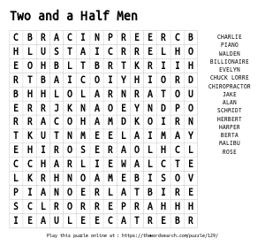 Word Search on Two and a Half Men