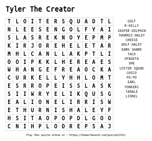 Word Search on Tyler The Creator