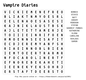 Word Search on Vampire Diaries