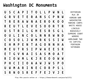 Word Search on Washington DC Monuments