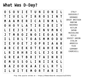 Word Search on What Was D-Day?