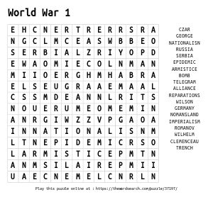 Word Search on World War 1