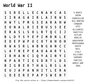Word Search on World War II