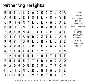 Word Search on Wuthering Heights